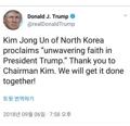 Trump agradece al líder norcoreano por confiar en él