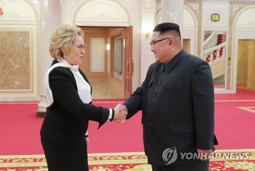 김정은, 방북 러시아 상원의장 면담