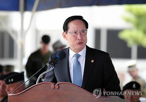 연설하는 송영무 국방부 장관