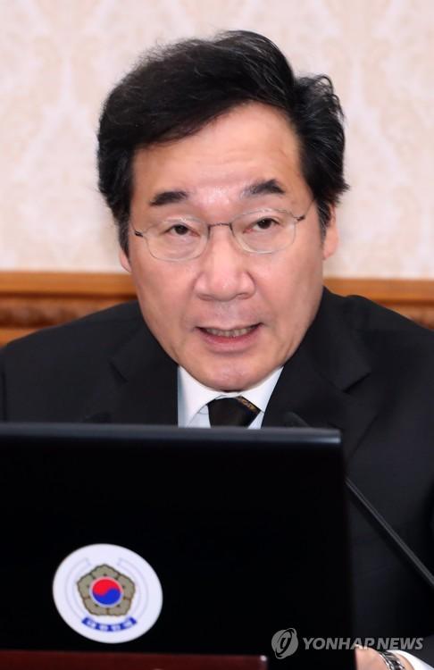 閣議で発言する李首相=2日、ソウル(聯合ニュース)