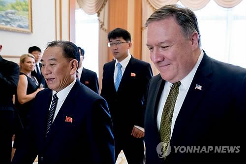 Le vice-président du Comité central du Parti du travail de Corée, Kim Yong-chol, et le secrétaire d'Etat américain Mike Pompeo à Pyongyang. (Reuters=Yonhap)