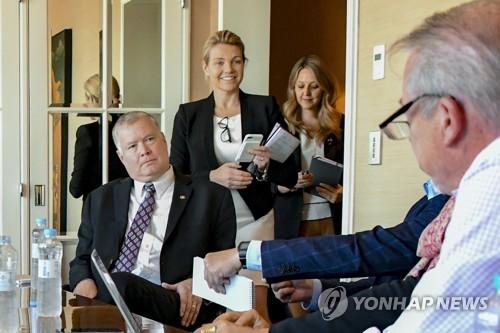 평양방문 기자간담회 갖는 비건 미 대북정책 특별대표