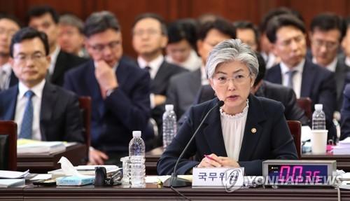 资料图片:10月10日上午,在韩国外交部,康京和在国会对外交部的国政监查上回答提问。(韩联社)