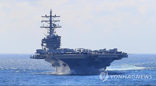 美航母在韩受阅