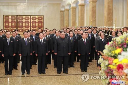 북한 김정은, 당창건일 맞아 금수산궁전 참배