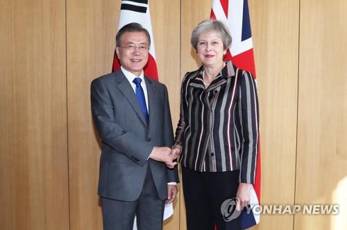 (LEAD) Leaders of S. Korea, Britain discuss bilateral ties, N.K. denuclearization