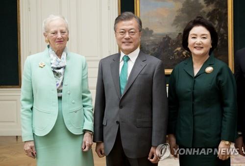 S. Korean president discusses bilateral ties with Danish queen
