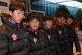 Jeunes footballeurs nord-coréens à Inje