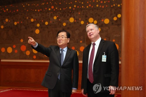This photo, provided by South Korea's presidential office, Cheong Wa Dae, shows Chung Eui-yong (L), top national security adviser to President Moon Jae-in, showing the interior of Cheong Wa Dae to U.S. Special Representative for North Korea Stephen Biegun in Seoul on Oct. 30, 2018. (Yonhap)