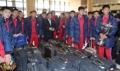 Los jóvenes futbolistas norcoreanos parten a casa