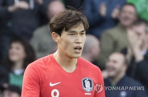This file photo taken on March 24, 2018, shows South Korean football player Lee Chang-min during a friendly football match against Northern Ireland in Belfast. (Yonhap)