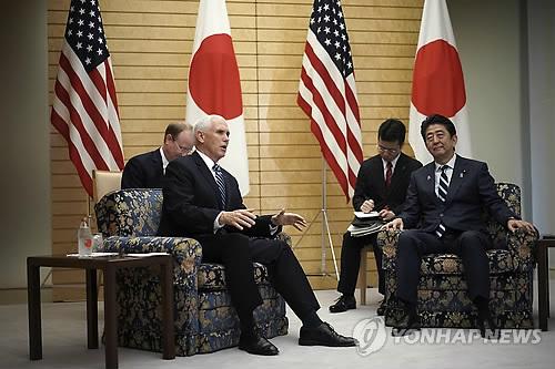 """아베-펜스 회담…""""北비핵화 실현 위해 제재 유지 필요"""""""