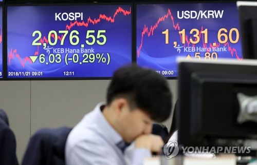 (LEAD) Seoul shares close lower on Wall Street losses