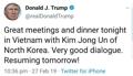 Cena entre Kim y Trump