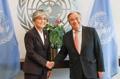 La canciller con el jefe de la ONU