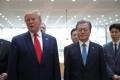 Moon y Trump en una conferencia de prensa