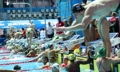 Swimmers practice for World Championships competition