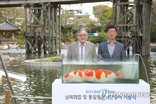 안유수 회장, 임진각 통일연못에 비단잉어 200마리 기증