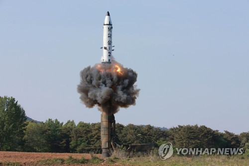 North Korea launches a mid-range ballistic missile in this undated file photo. (For Use Only in the Republic of Korea. No Redistribution) (KCNA-Yonhap)