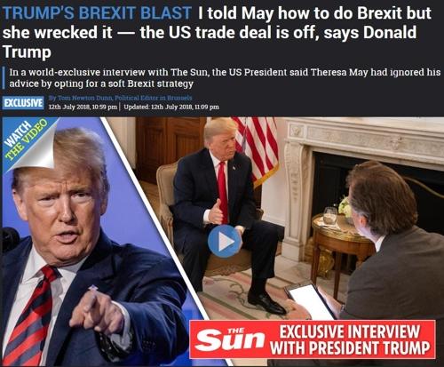 영국 '더선'과의 인터뷰에 나선 도널드 트럼프 미국 대통령