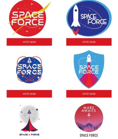 트럼프캠프가 지지자들에게 후보군으로 보낸 '우주군 로고'