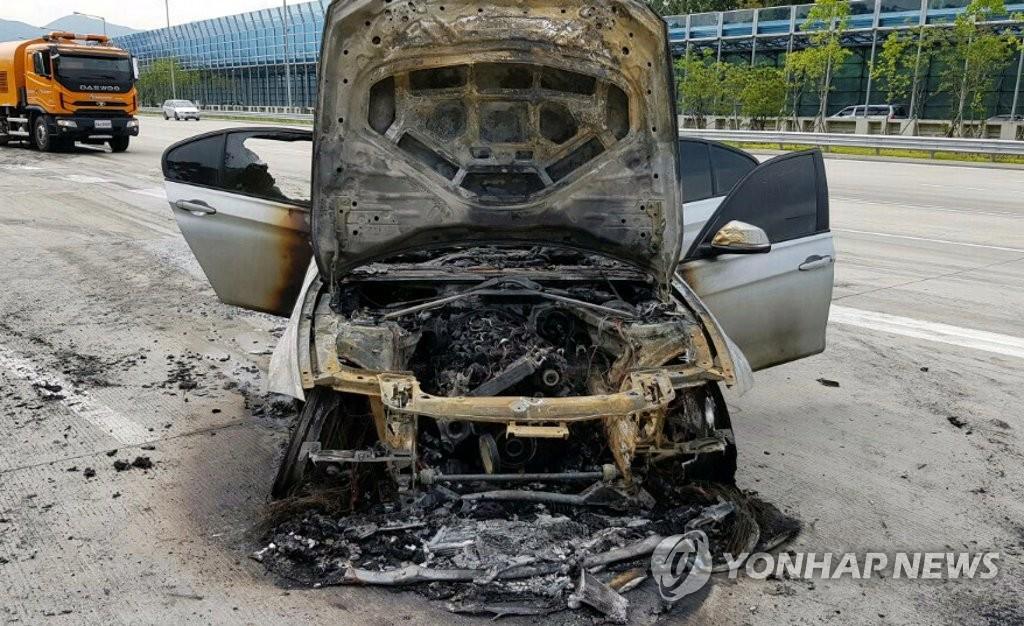 제2경인고속도서 BMW 320d 또 화재  [경기도재난안전본부 제공]